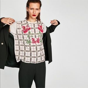 Zara Short Sleeve Plaid Floral Print Blouse White